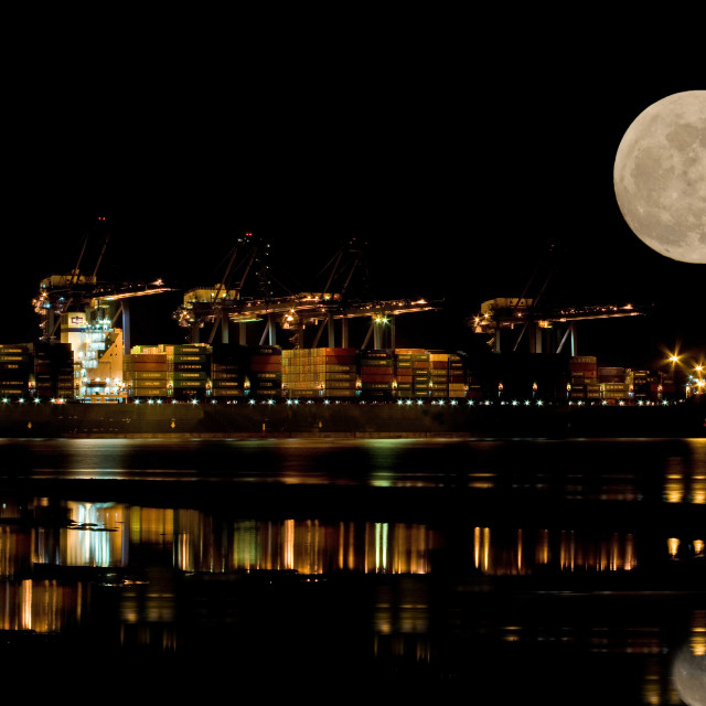 """Container Port at Night"" stock image"