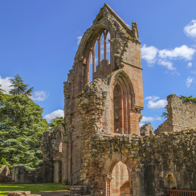 """Ruined wall of ancient Dryburgh abbey"" stock image"