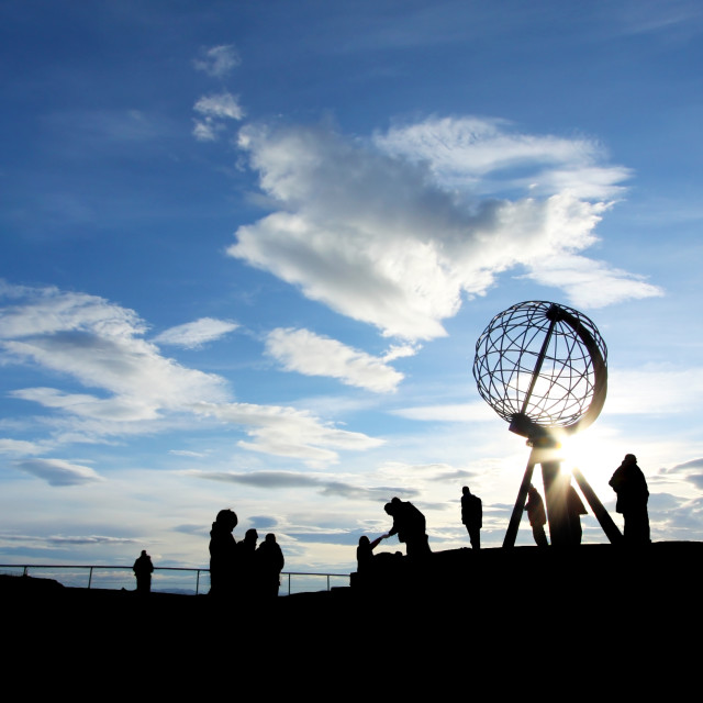 """Monument at the North Cape, Norway"" stock image"