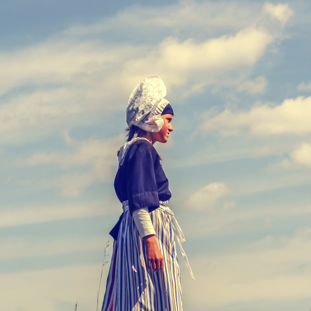 """""""Dutch girl in traditional clothing"""" stock image"""