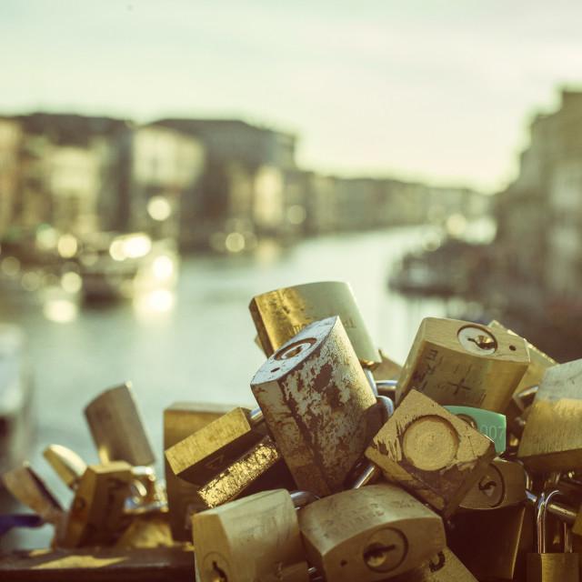 """""""Locked love in Venice"""" stock image"""