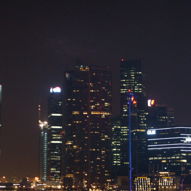 """""""Singapore CBD at night"""" stock image"""
