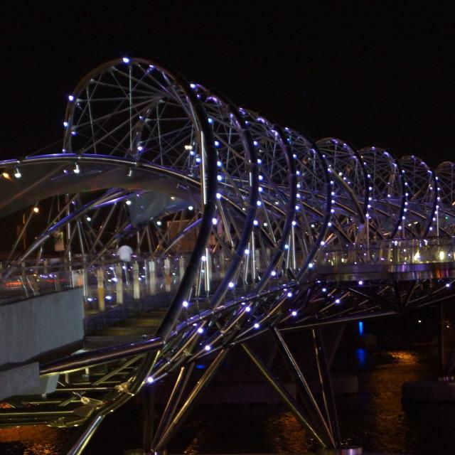 """The bridge to Marina Bay Sands"" stock image"