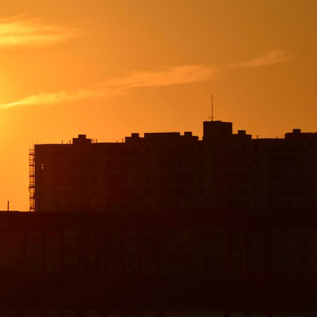 """""""Sizzling City Sunset"""" stock image"""