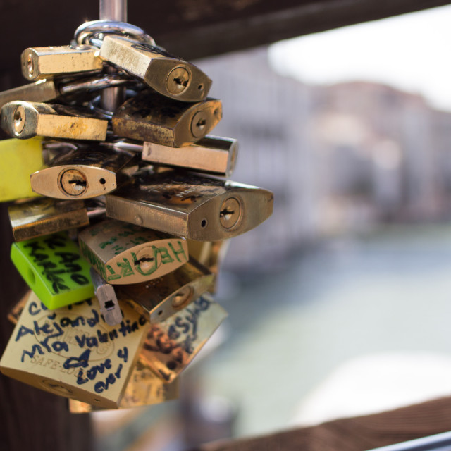 """Locks on bridge over Grand Canal, Venice"" stock image"