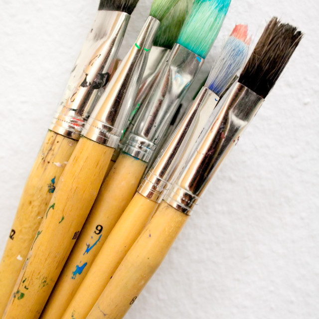 """""""Bunch of Paint Brushes"""" stock image"""