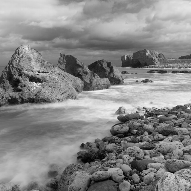 """""""Incoming Tide at Trow Quarry Beach"""" stock image"""
