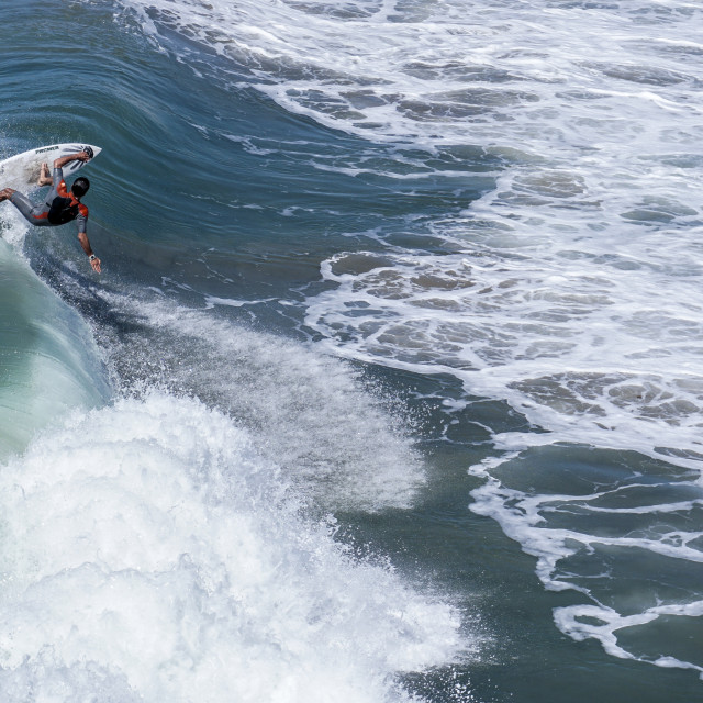 """""""Surfer from the pier"""" stock image"""