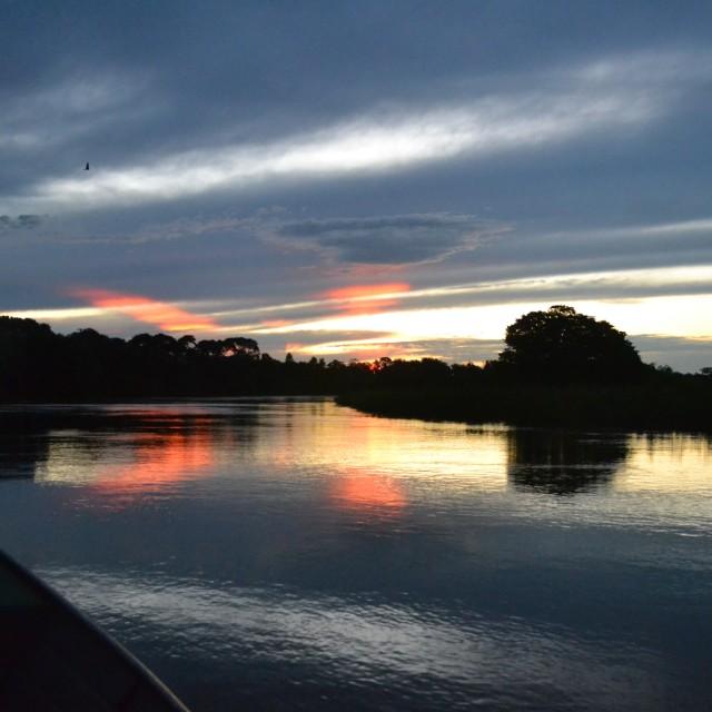 """Sailing through the Sunset"" stock image"