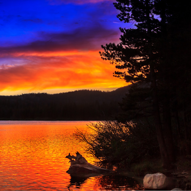 """Sunset over Lake Mary"" stock image"