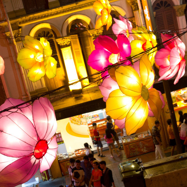 """Flowers over Chinatown"" stock image"