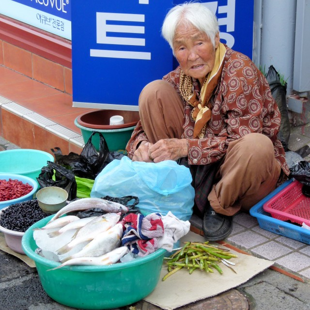 """Korean street vendor"" stock image"