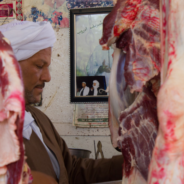 """""""Butcher at Work"""" stock image"""