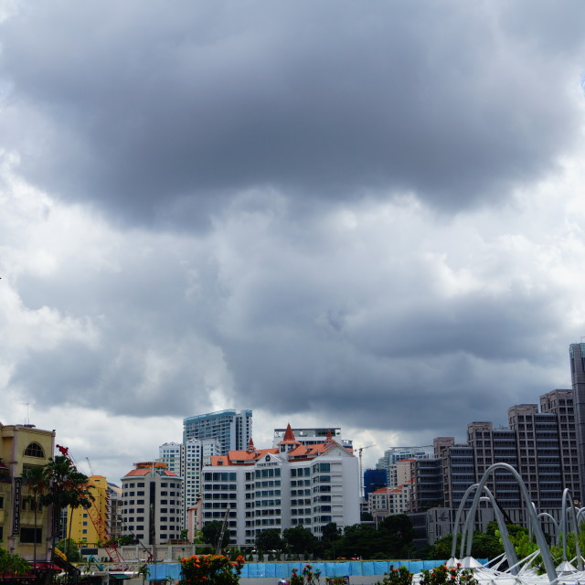 """""""The cloudy skies of Singapore"""" stock image"""