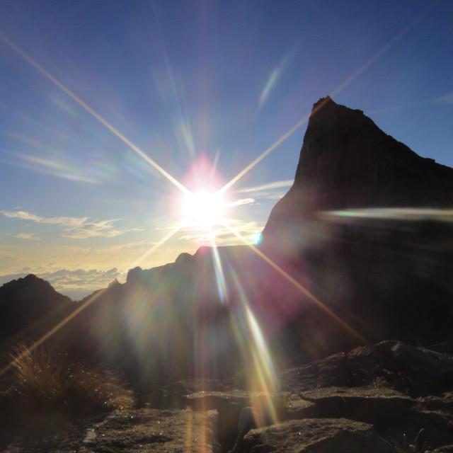 """""""Mountain Sunburst"""" stock image"""