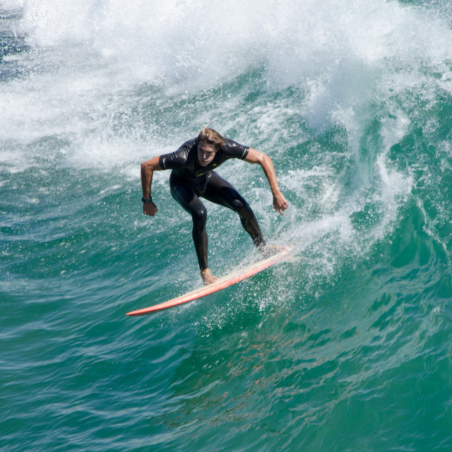 """Surfer concentrating"" stock image"
