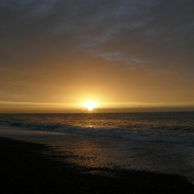 """Shoreham beach sunrise 2012"" stock image"