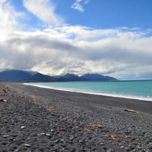 """Kaikoura Beach, New Zealand"" stock image"