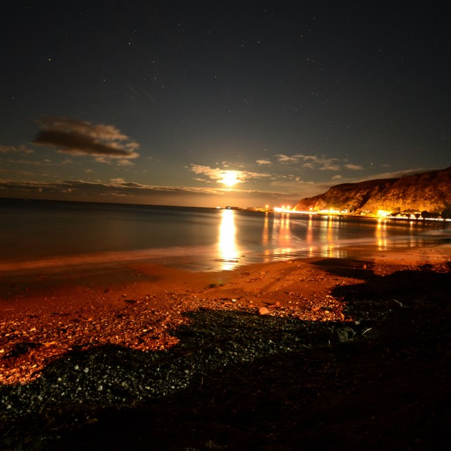 """Night time beach - Kaikoura"" stock image"