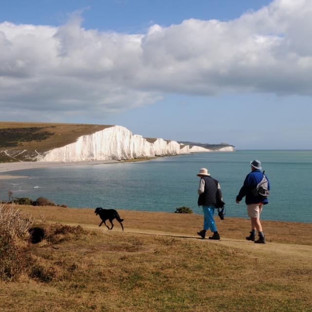 """A walk along the coast"" stock image"