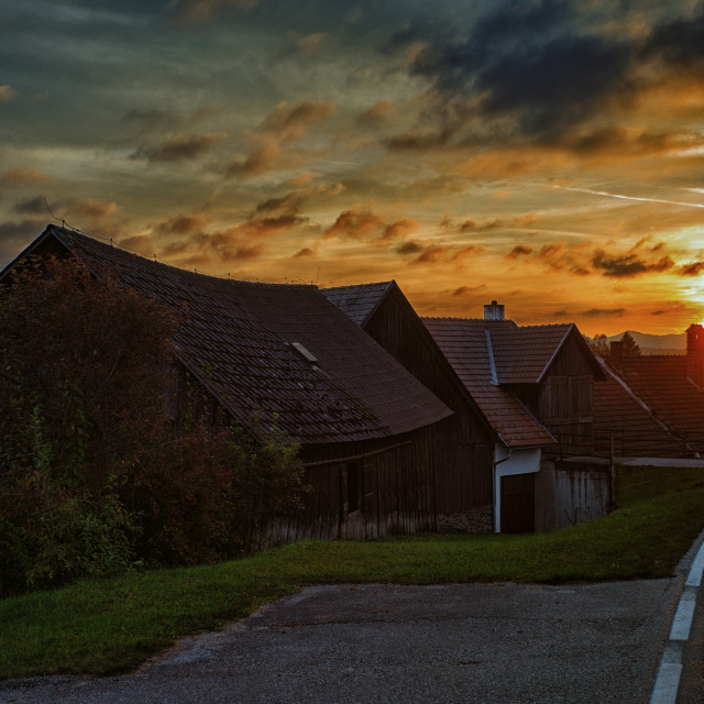 """Village sunset"" stock image"