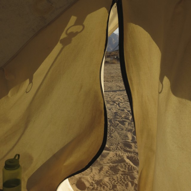 """Desert view from tent"" stock image"