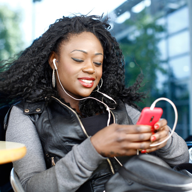 """""""Black Female Listening Music from Phone Play List"""" stock image"""