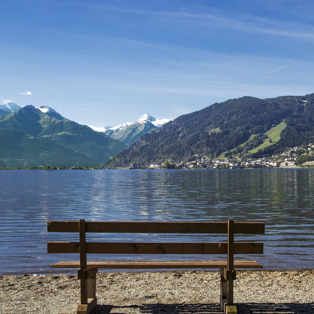 """Zeller See Towards Zell Am See and the Kitzsteinhorn"" stock image"