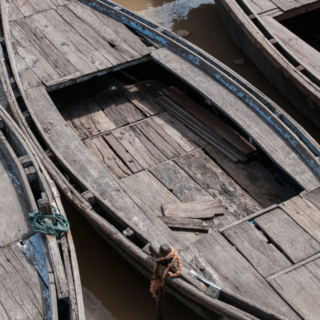 """Boats on the Ganges"" stock image"