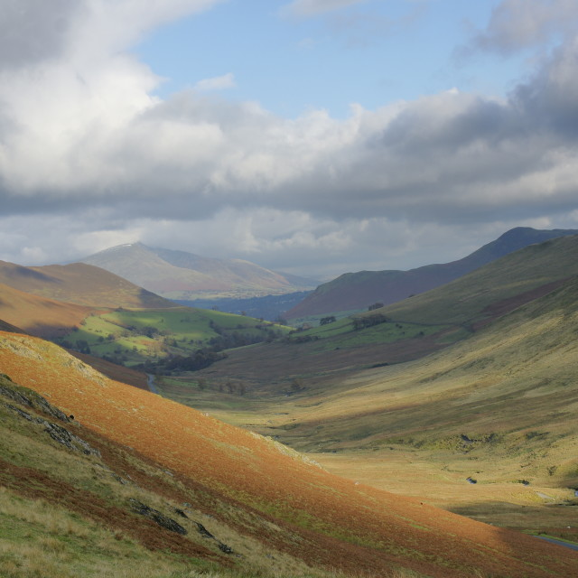 """Pass from Buttermere to Braithwaite, English Lake District."" stock image"