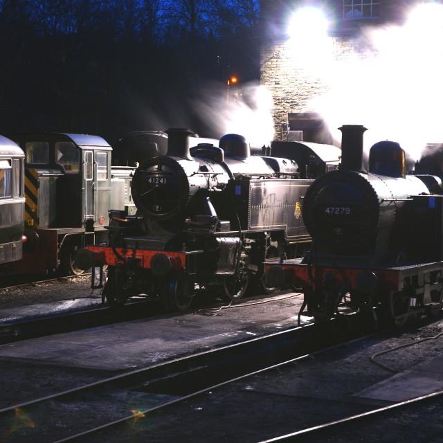 """KWVR Haworth yard at dusk"" stock image"