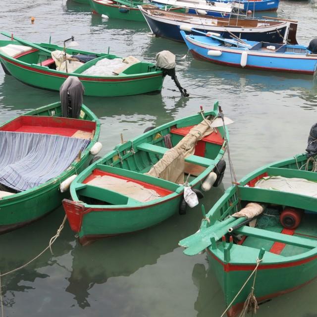 """""""Three boats a-bobbing"""" stock image"""