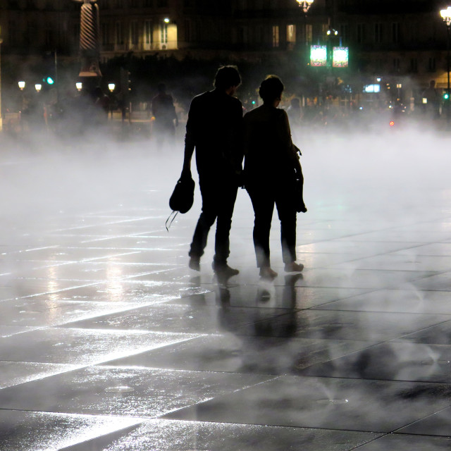 """""""Couple in the fog"""" stock image"""