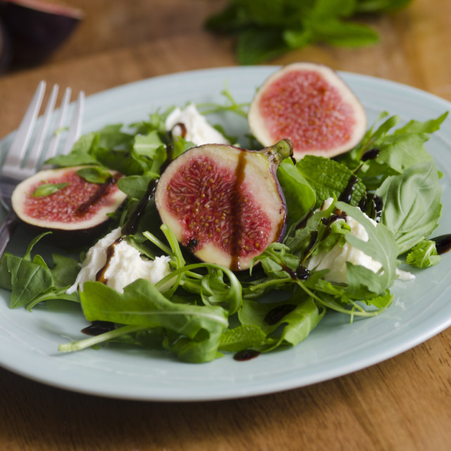 """Fig, mozzarella and basil salad"" stock image"