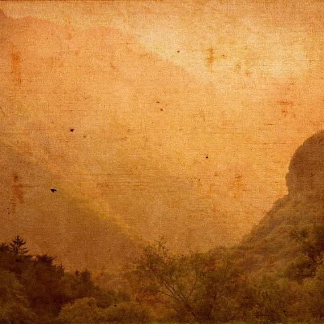 """""""Vintage Landscape on Canvas Texture"""" stock image"""
