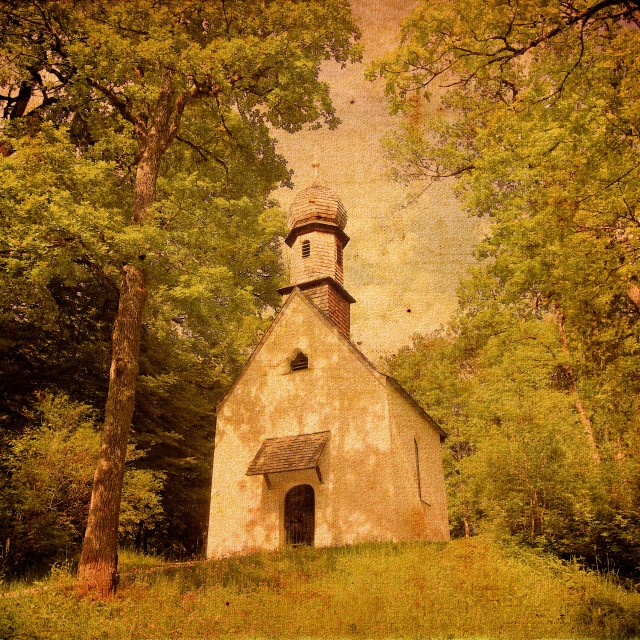 """""""Old Colour Textured Photo Of Church"""" stock image"""