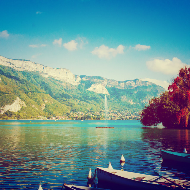 """Lake Annecy in Autumn"" stock image"