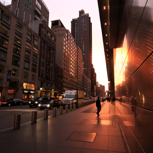 """New York Street Sunset & Reflection"" stock image"