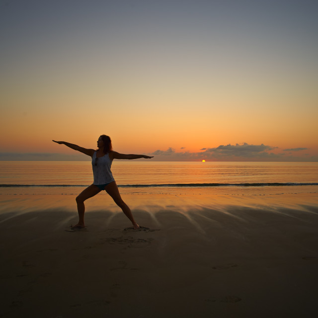 """Yoga At Sunrise."" stock image"