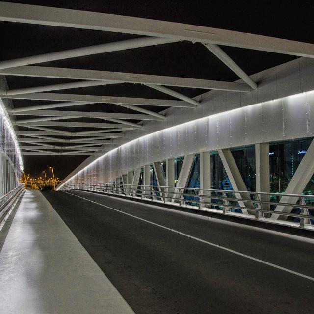 """Bridge to the city lights of Abu Dhabi"" stock image"