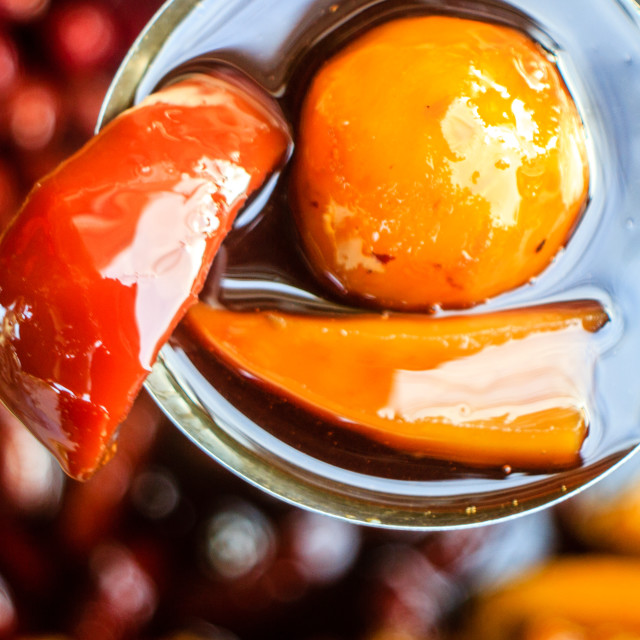 """Street food: Fruits with sugar sauce"" stock image"