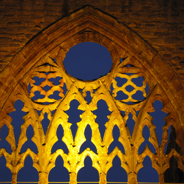 """Tintern Abbey at Night"" stock image"