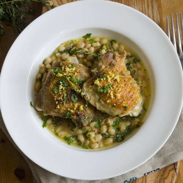"""Chicken with haricot beans"" stock image"