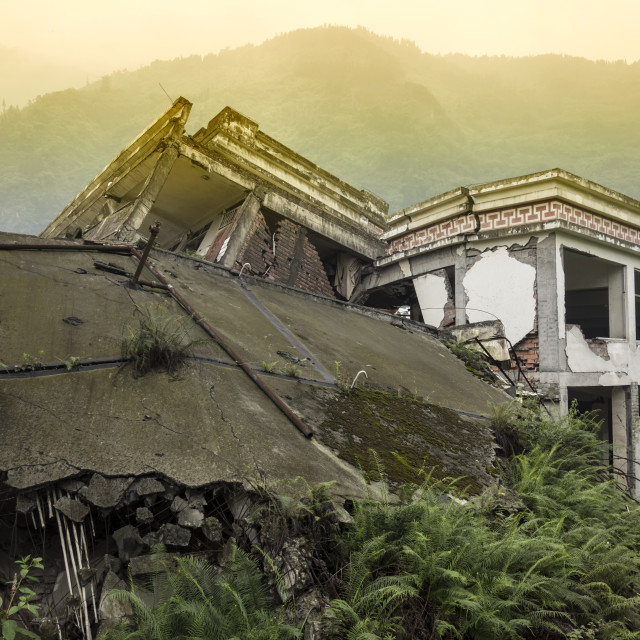 """Damage Buildings of Wenchuan Earthquake,Sichuan"" stock image"
