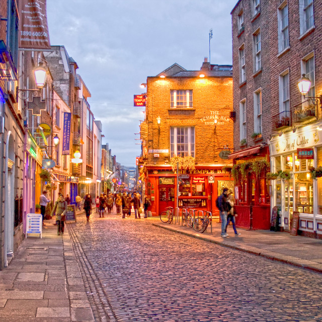 """""""Temple Bar district in Dublin at night"""" stock image"""