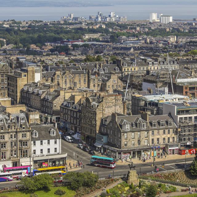 """""""View on Edinburgh with Princess street"""" stock image"""