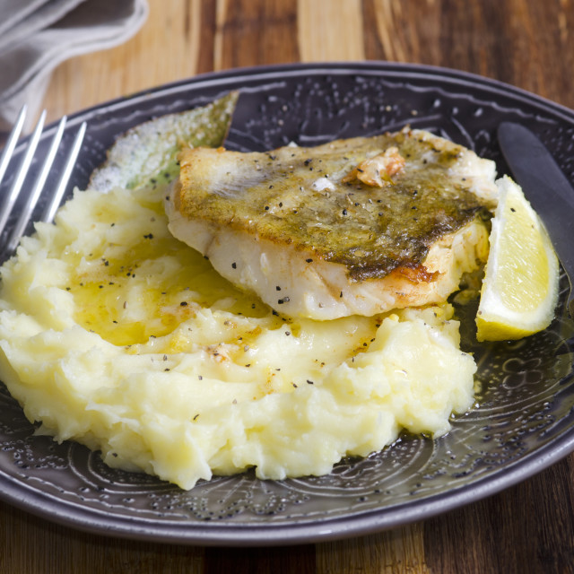 """Fish with mash"" stock image"