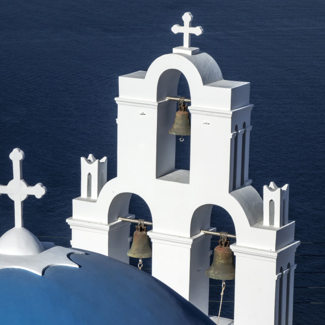 """Blue church Firostefani"" stock image"