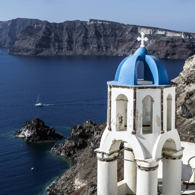 """view of caldera with churches"" stock image"