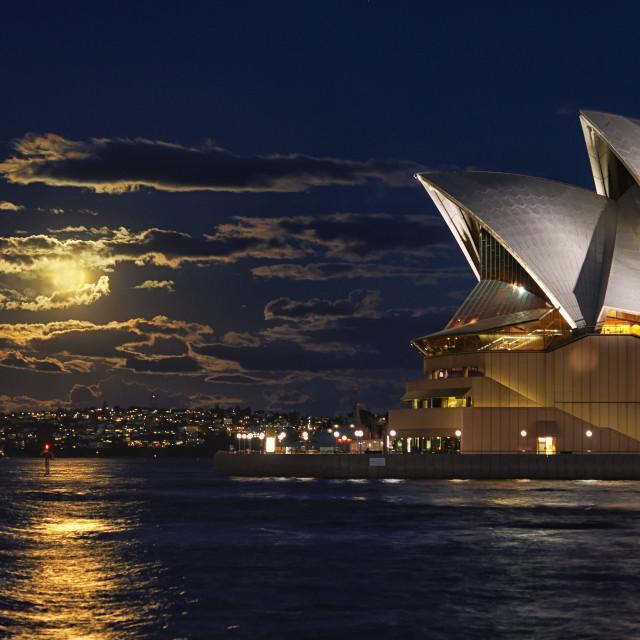 """""""Opera House Sydney Moon Rise."""" stock image"""
